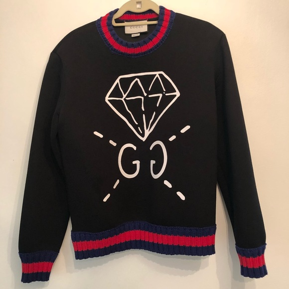 957a0ff57 Gucci Sweaters | Small Diamond Ghost Black Sweater | Poshmark